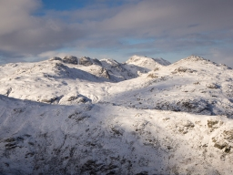 Crinkle Crags and Bowfell under winter snow from Wetherlam