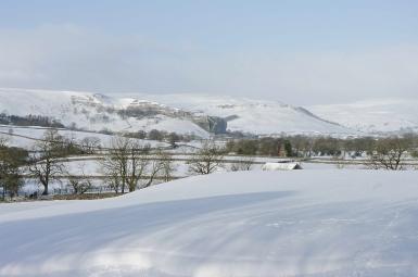 Kilnsey crag and heavy snow