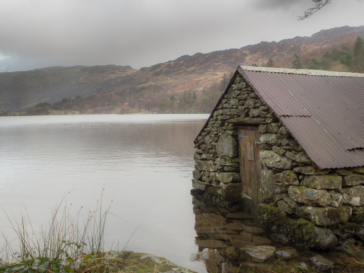 An old stone boat house on Llyn Gwynant, Snowdonia