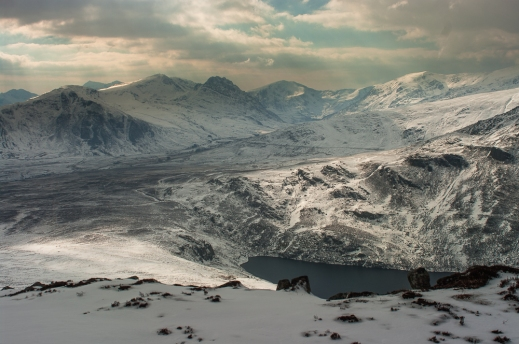 The Ogwen valley in full winter conditions, Tryfan central in the distance.
