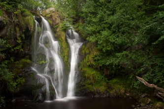 One of the dramatic waterfalls in the Valley of Desolation near Bolton Abbey