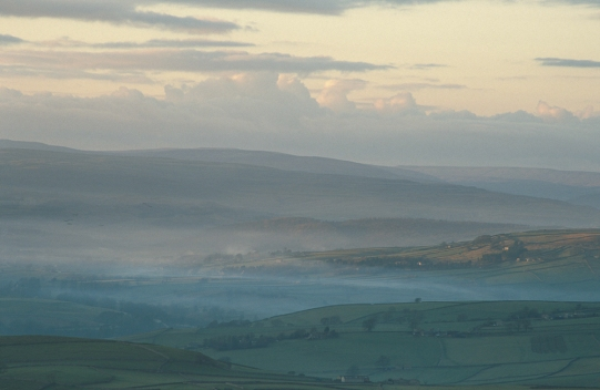 Early morning mist in Lower Wharfedale