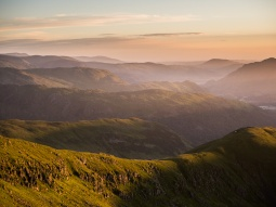 Sunrise at Red Screes looking nor-nor-west to Dovedale, Deepdale, and Grisedale