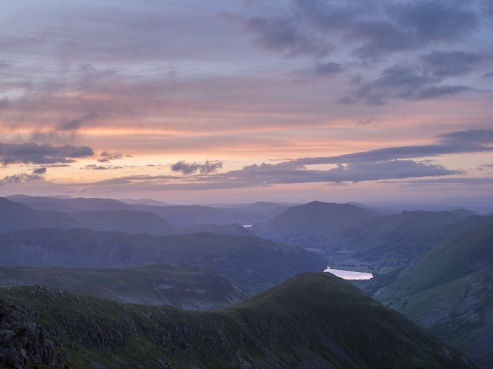 The view from Red Screes towards Ullswater in the distance after the rain cleared