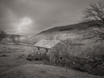 A typical Swaledale barn on a dark autumn morning