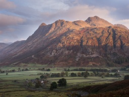 Dawn catches the tops of the Langdale Pikes while the valley is still in shade
