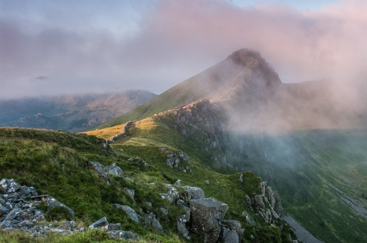The Nantlle Ridge looking south at sunrise