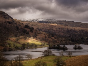 Rydal Water seen from Loughrigg Fell with High Pike in the distance