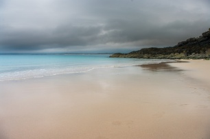 Perfect sand, turquoise sea and steel grey sky in St. Ives