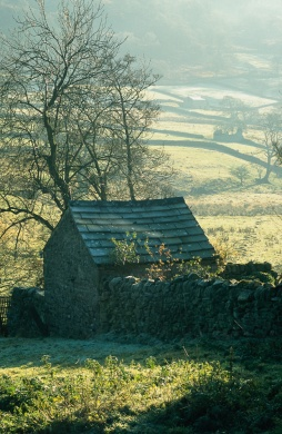 Low winter light on barns and walls in Wharfedale