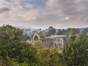 A view of Bolton Abbey from across the river