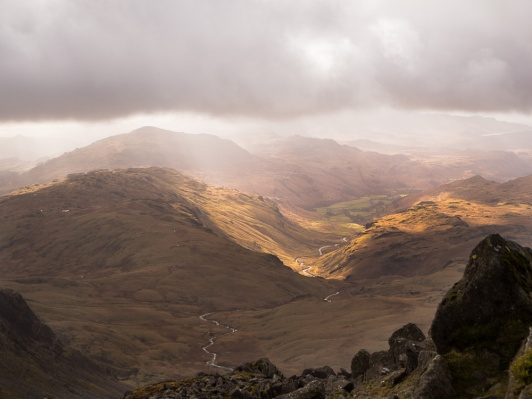 The view down Eskdale from Bowfell