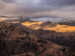 Part of the Fairfield Horseshoe lit up by the setting sun