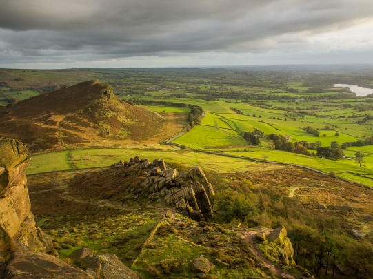 Sunset light picks out Hen Cloud, looking south from The Roaches, Peak District