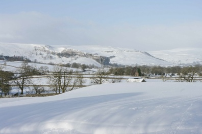 Kilnsey crag and heavy snow in Wharfedale