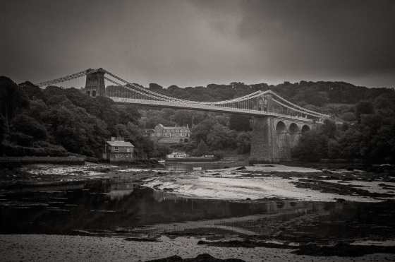 The Menai Strait Bridge to Anglesey at low tide
