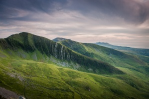 The Nantlle Ridge looking south, the Lleyn hills in the distance, at sunset