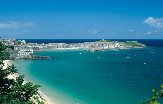 A view from the coast path of St Ives on a hot June day.