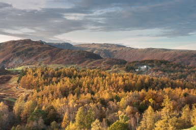 Looking to Langdale from above Skelwith Bridge at sunset