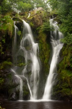 The lower falls in Bolton Abbey's Valley of Desolation in summer